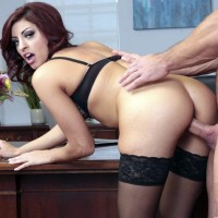 Shavelle Love hardcore sex in stockings at the office